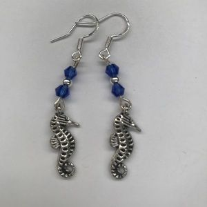 Jewelry - Silver and Blue Seahorse Dangle Earrings